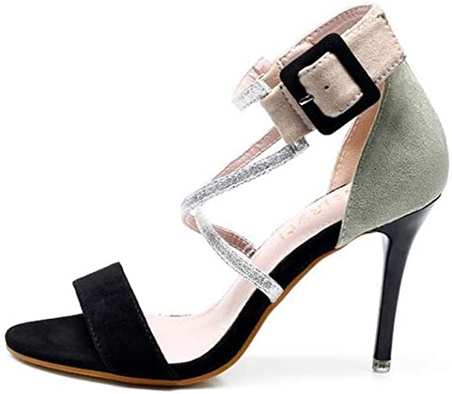 GHFJDO GHFJDO GHFJDO Les Femmes New Open Toe Sandales, été Pointu Daim Escarpins Talons Hauts Parti Sandales de soirée 160