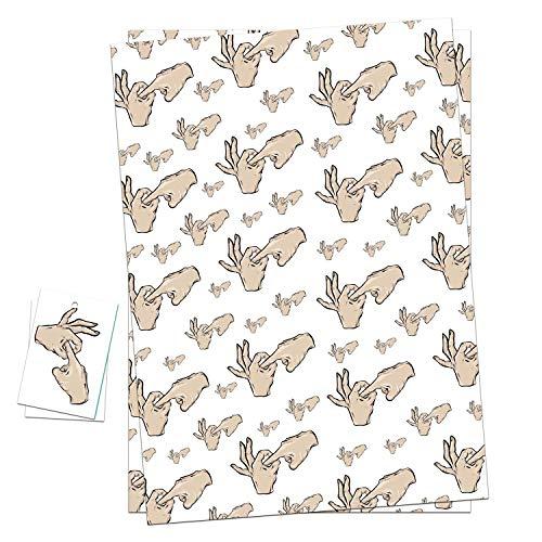 Lustige unhöfliche Geschenkpapier & Geschenkanhänger Geschenkpapier Bögen perfekt für Valentinstag Jahrestag & Geburtstag, 2 Wrapping Sheets + 2 Gift Tags