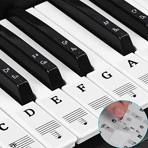 keyboard aufkleber,klavier aufkleber kinder,piano stickers for keys,Keyboard Noten Aufkleber für 37/49/54/61/88 transparent und abnehmbar für Anfänger einfache Anleitung (Schwarz und weiß)