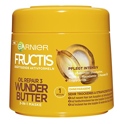 Garnier Fructis Oil Repair 3 Wunder Butter 3-in-1 Maske, intensive Pflege für sehr trockenes Haar, mit Sheabutter, 6er-Pack (6 x 300 ml)