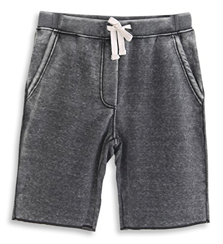 HARBETH Men's Casual Soft Cotton Elastic Fleece Jogger Gym Active Pocket Shorts Burnout Gray L