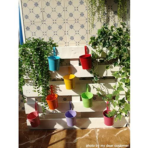 GIOVARA Metall-Blumentopf-Eimer zum Aufhängen, Übertopf mit Abflussloch, mit abnehmbarem Haken, für Garten/Balkon/Wohndekor (10 Stück im Sortiment in 10 Farben) - 3