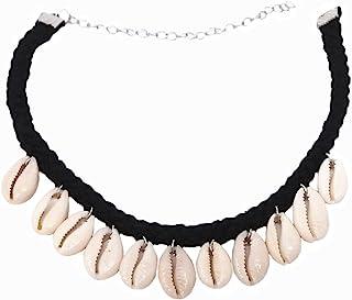 گردنبند غلاف گردن آویز هونبای طبیعی شل Cowry ، گردنبند زنانه و دخترانه Seashell Drop