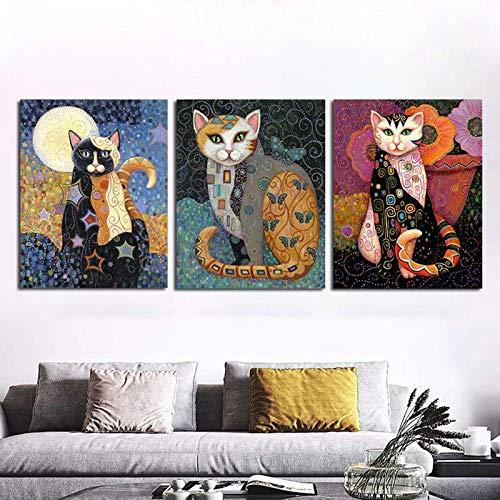 3pcs Gato clásico Arte de Pared Pintura de Pared Impreso Lienzo Pintura Decoración del hogar Sala de Estar Arte Carteles Imágenes,Pintura sin Marco,60x90cmx3