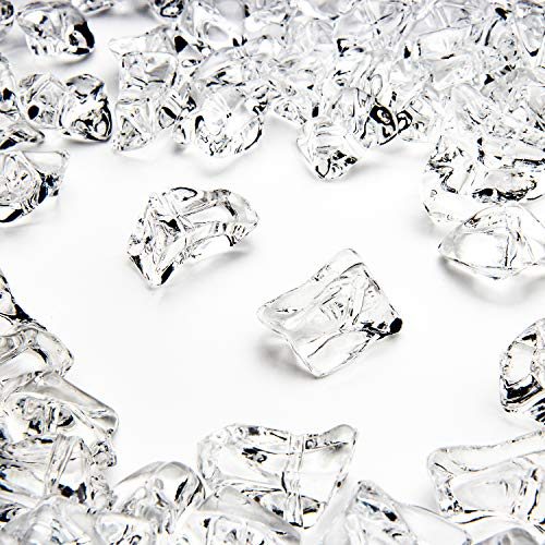 400Pcs Vase Fillers, Gems for Crafts Small Clear Fake Ice Cubes Acrylic Rock Diamond Stones Clear Rocks Crystals Acrylic for Christmas Decor Home Wedding Birthday Decoration Arts & Crafts