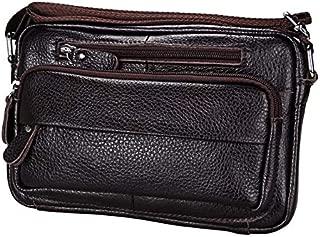 Men's First Layer Genuine Leather Casual Ladies Single Shoulder Bag (Color : Black)
