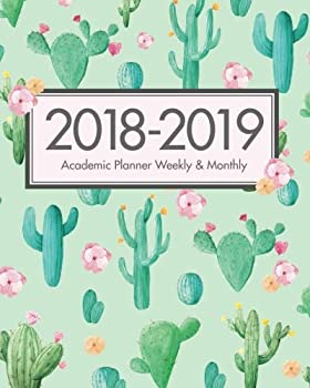 2018-2019 Academic Planner Weekly and Monthly Calendar Schedule  Cactus Cute Green Design At A Glance Organizer for Students Student College .. x 25.4 cm  Daily Weekly Monthly To Do List