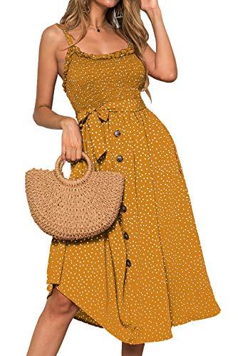 LOMON Women's Dresses Summer Beach Boho Ruffle Sleeveless Sundress Adjustable Straps Backless Swing Midi Dress