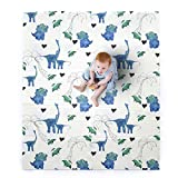 "JumpOff Jo – Large Waterproof Foam Padded Play Mat for Infants, Babies, Toddlers, 8+ Months – for Play & Tummy Time – 70 in. x 59 in. – Double-Sided Design: ""Tiny Dinos"" Pink & Blue"