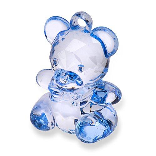 Club Green acryl, teddybeer, blauw, 4,5 cm, 6 per pak