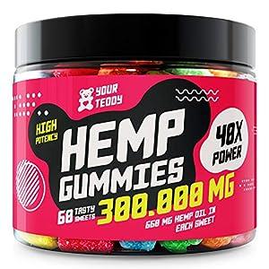 Hemp Gummies for Pain, Anxiety, Sleep, Stress Relief - 300000 MG - High Potency - Premium Hemp Extract - 100% Organic, Natural Candy Gummy Bears with Hemp Oil - Rich in Vitamins B, E & Omega 3, 6, 9