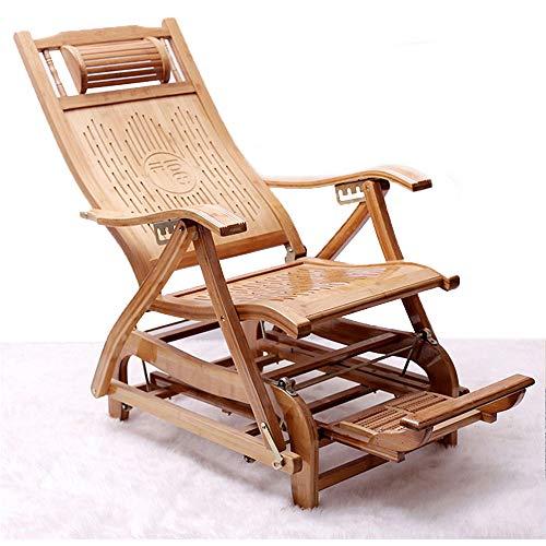 CHUDAN Silla de jardín Silla de salón - tumbonas reclinables de bambú Silla basculante Ajustable con Masaje de pies y cojín de apoyabrazos, Tumbona de Silla Plegable para terraza balcón