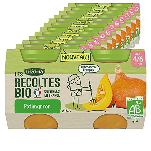 Blédina Les Récoltes Bio, Petits pots bébé Bio dès 4/6 Mois, Potimarron, 2x130g (Packx12)