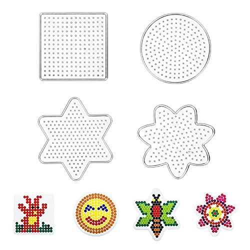 4 Stücke Bügelperlen Steckplatte Kunststoff Bügelplatte Stiftplatte für Bügelperlen, Bügelperlen Platten Stiftplatten Verschiedene Formen Transparent Steckplatten Steckplatten Set Papiervorlagen