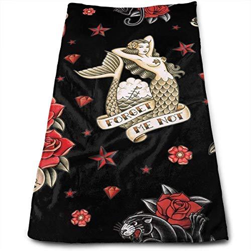 Qidsuf Toallas de algodón Negro Old School Tattoo Toallas de baño Ultra Suaves y absorbentes - Grandes Toallas de Ducha, Toallas de Hotel y Toallas de Gimnasio de 27,5 x 12 Pulgadas