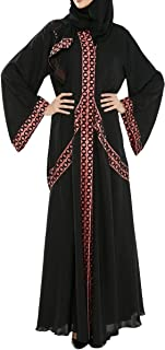Arabeska Abaya For Women - L, Black And Red, Arb-86