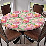 "Elastic Edged Polyester Fitted Table Cover,Painting of Rose Flower Composition with Leaves in Soft Colors Blooming Plant,Fits up 40""-44"" Diameter Tables,The Ultimate Protection for Your Table,Pink Gre"