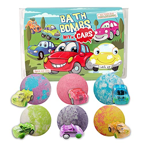 CF Natural Daily Cars Bath Bomb Gift Set with Pull-Back Cars Inside, 6 Pack 7oz Huge Bath Bombs for Kids, Organic Rich Foam and Strong Fizzie Bath Bombs for Chrildren