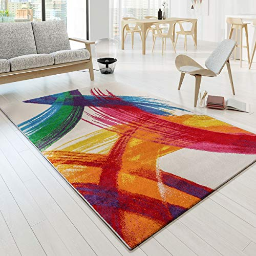 Tappeto Di Design Variopinto Pezzo D'Arte Picasso Effetto Pennellata Moderno Multicolore Crema Giallo Rosso, Größe:80x150 cm