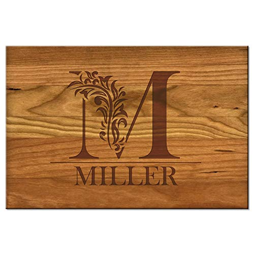 Froolu Cute Monogram custom cheese board for Initial Engraved Birthday Gifts