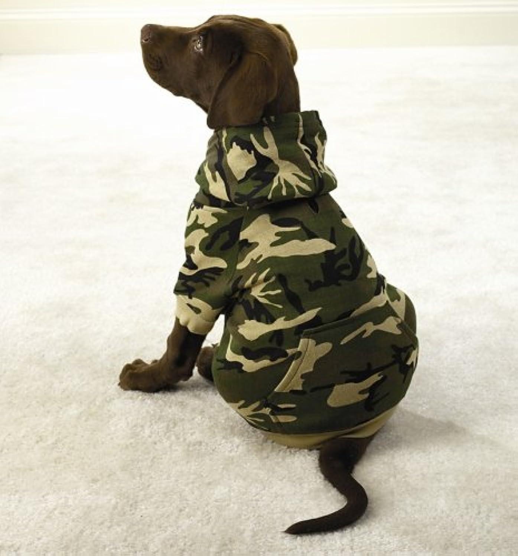 Camo Hooded Dog Sweatshirt  Small Green by Fashion Pet