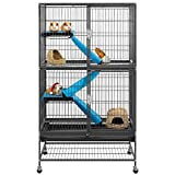 Yaheetech Large Metal Cage for Small Animal Adult Rats/Ferrets/Chinchillas/Guinea Pigs w/ 2 Removable Ramps & Platforms, Hammered Black