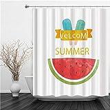 AIMILUX Duschvorhang 180x180cm,Blue Ice Cream Watermelon leckeres Essen,Duschvorhang Wasserabweisend-Duschvorhangringen 12 Shower Curtain mit