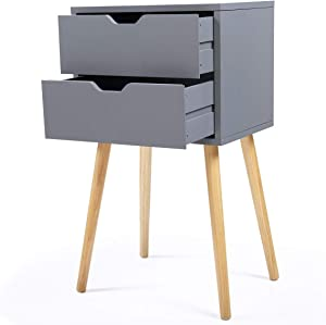 Wooden Nightstand Bed Side End Table Solid Wood Legs Nightstand w/2 Drawers,Grey