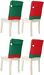 X19 Christmas Chair Covers Decorations Sale,Santa Hat Chair Covers,Santa Claus Cap Chair Back Seat Cover Red Hat Chair Back Cover Christmas Dinner Table Party Decor (05,2 Pack)