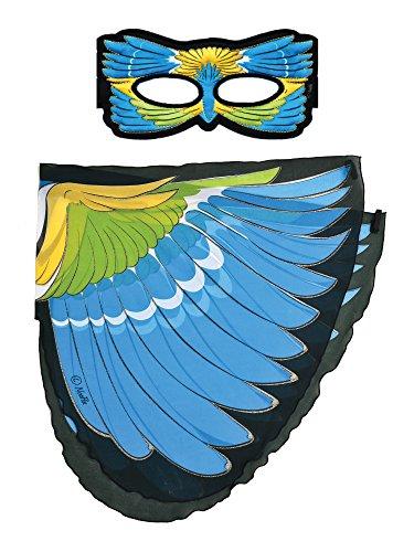 Dreamy Dress-Ups 66223 Mask + Wings, vleugels + masker, Blue-Winged Warbler, Vogel blauwe vleugels boszanger Vermivora cyanoptera