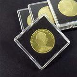 Lionina Recipiente para cápsulas de monedas, caja de almacenamiento transparente cuadrada de Gaine, 10 unidades, organizador de monedas para material de recogida de monedas