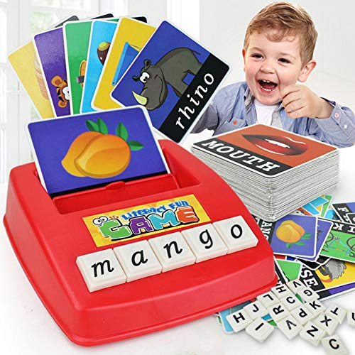 English Matching Letter Game Cartoon Educational Spelling Words Toy & Increases Memory Interactive Parent-Kids Desk Game (Lower Case Letters)