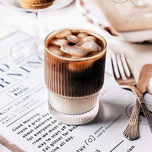 Qchomee Glas Transparent Ripple Schnapsglas 350 ml Wasser-Glas Kaffeetasse Borosilikatglas Teegläser Hitzebeständig Saftgläser Spülmaschinenfest für Kaffee Tee Latte Milch Cappuccino Saft Whisky-Glas