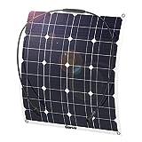 GIARIDE 12V 18V 50W Pannello Solare Monocristallino Cella Flessibile Portatile Impermeabile Fotovoltaico Modulo Carica Batterie per, Camper, Roulotte, Auto, Batteria 12V, Tetto, RV