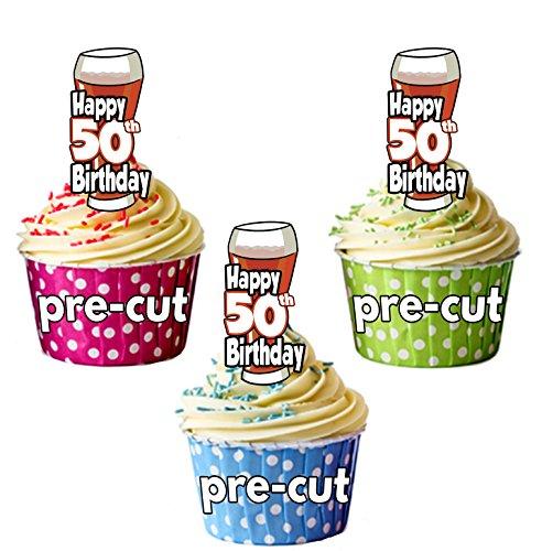 PRECUTA - Juego de 12 adornos comestibles para cupcakes, diseño de cerveza y pinta de Ale, 50 cumpleaños