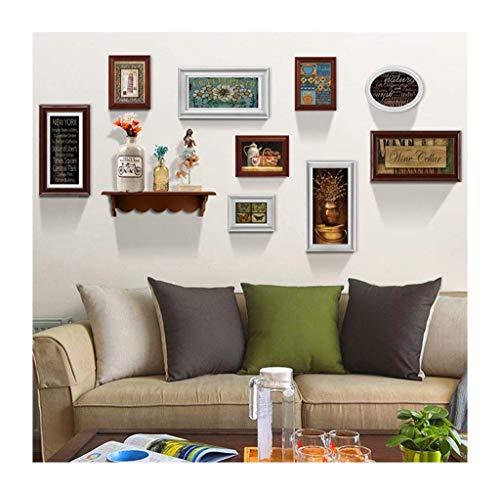 ZPQJH Amerikaanse Retro fotomuur, creatieve opslag plank fotolijst combinatie foto decoratie schilderij kleine fotolijst 9 sets