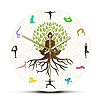 ウォールクロックヨガスタジオツリーオブライフカラフルなウォールウォッチクロック瞑想のための自然エネルギーサイレントホーローグクロクロータスポーズツリーウォッチ
