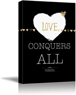 Black and White with Gold Quote, Love Conquers All Virgil, Modern Canvas Wall Art Print Painting for Kitchen/Office Decor, Stretched and Framed Ready to Hang 12x20inch