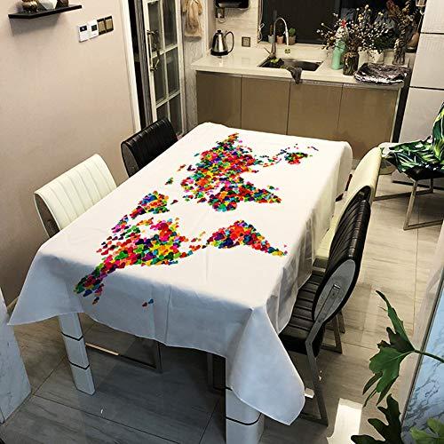 Nappes Couleur Noir Blanc Carte Monde 3D Numérique Imprimé Polyester Nappe Map Imperméable À L'huile Greaseproof Table À Manger Table Basse Table De Travail Couverture (Map 3,140 x 160 cm)