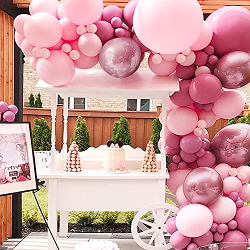 Sumtoco Palloncini Compleanno Rosa, Ghirlanda Palloncini Addobbi Compleanno Bambina Decorazioni per Nascita Bambino Matrimonio Fidanzamento Nuziale Anniversario Compleanno.