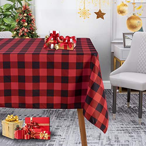 LUSHVIDA Christmas Checkered Square Rectangle Table Cloth – Washable Water Resistance Holiday Plaid Tablecloth Decorative Table Cover for Picnic Banquet Party Kitchen Dining Room, 150 GSM
