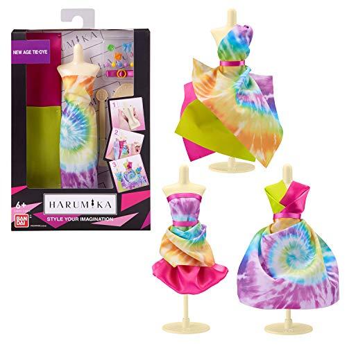 Harumika Diseño de Moda para niños: CREA Tus Propios Looks de Pasarela con Este Kit Creativo, Juego de Torso Individual, Estilo Tie-Dye, Incluye maniquí Reutilizable, Tela y Accesorios.