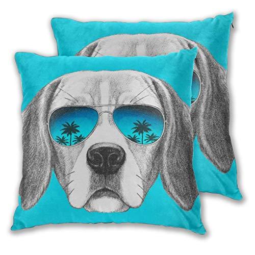 BROWCIN 2 Pack Funda de Almohada Retrato de Perro Beagle con Gafas de Sol de Espejo Dibujadas a Mano Lino Suave Cuadrado Sofá Cama Decoración Hogar para Cojín 60cm x 60cm