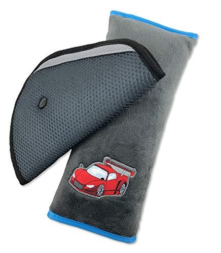 MiELiDA Gurtkissen für Kinder - Hochwertiges Gurtpolster für Mädchen und Jungen - Reisekissen aus kuschelweichem Nickistoff - Maschinenwaschbar - Schadstofffrei (Grau)