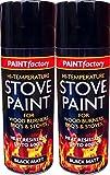 Black Heat Resistant Matt Black Spray Paint Stove High Temperature 400ml (2 Spray Cans)
