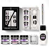 ROSALIND Acrylic Powder and Liquid Set - Pink/White/Clear, Nail Carved Flower and Nail extension Tools Kit