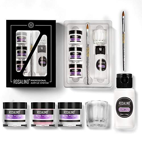 Acryl Nagelset - 10g klar/Rosa/Weiß Farbe Acrylpulver und acrylnägel Flüssigkeit, Nagel geschnitzt Werkzeuge zur Nagelverlängerung Acrylnagel Starterset