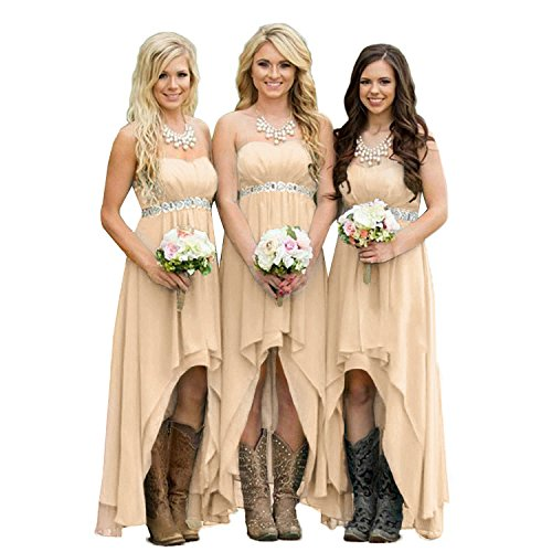 Fanciest Women' Strapless High Low Bridesmaid Dresses Wedding Party Gowns Champagne US2