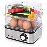 Navaris Edelstahl Eierkocher mit Timer - für 1-16 Eier - 21x17x18,5cm - mit Eierstecher und Messbecher - auch als Pochierer und Dampfgarer nutzbar