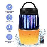 ZOTO Insektenvernichter Elektrisch, Mückenlampe mit Fernbedienung + Farbnachtlampe, Batteriebetrieben Mückenkiller Campinglaterne Indoor Outdoor mit einziehbarem Haken